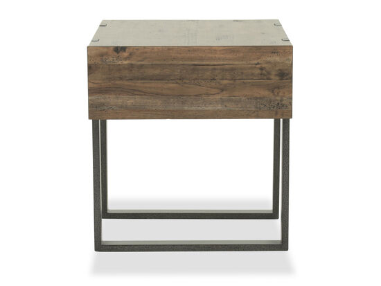 Rectangular Industrial End Table in Honey