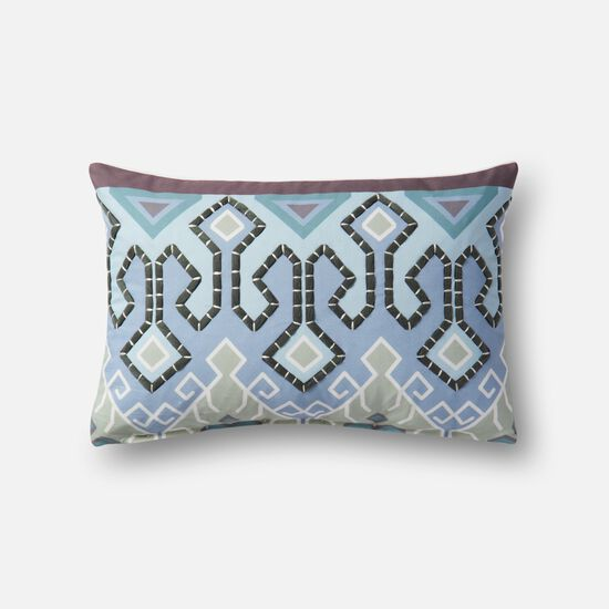 """Indoor/outdoor 13""""x21"""" Cover w/down pillow in Blue/Multi"""
