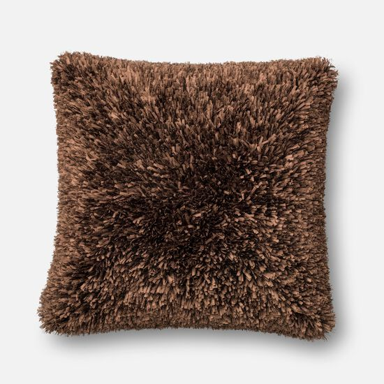 """Contemporary 22""""x22"""" Cover w/Down Pillow in Brown"""
