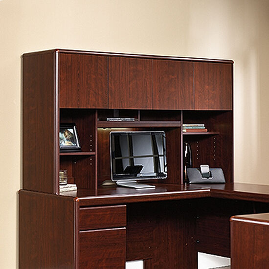 "68"" Contemporary Adjustable-Shelf Hutch in Classic Cherry"
