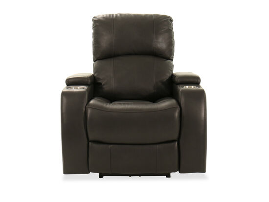 Two-Cup Holder Leather 37'' Power Recliner in Charcoal