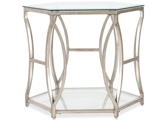 Hexagonal Tempered Glass Traditional End Table in Antique Gold