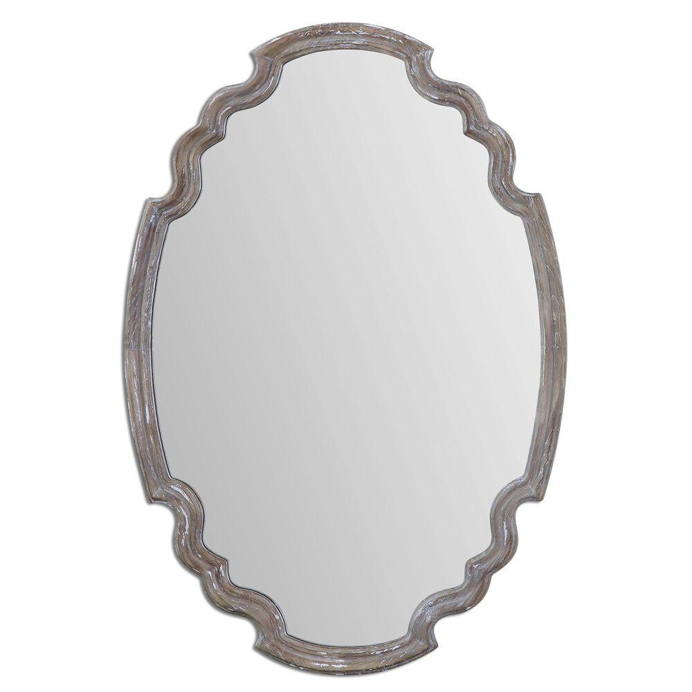 "35"" Quatrefoil Mirrorin Aged Wood"
