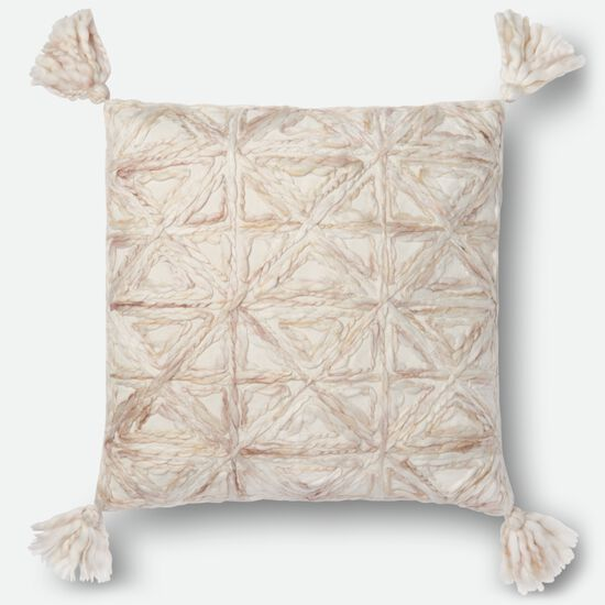 """Contemporary 22""""x22"""" Cover w/Poly Pillow in Natural"""