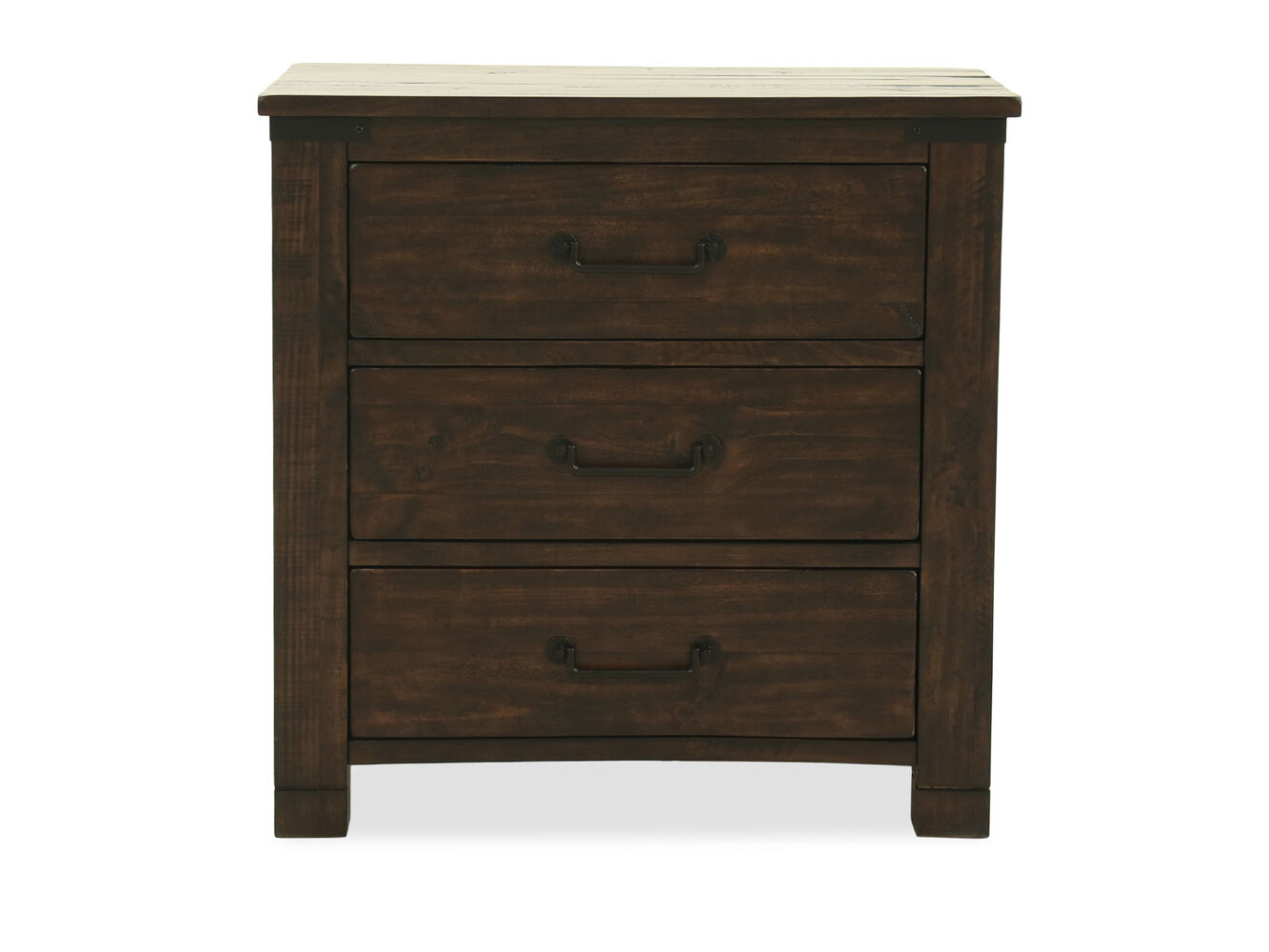 """30"""" Transitional Three-Drawer Nightstand In Rustic Pine"""