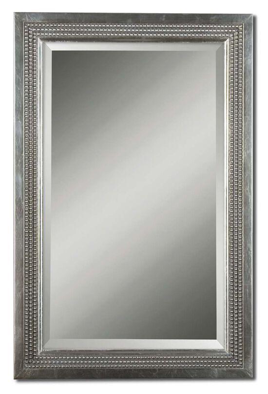 """35"""" Triple Beaded Vanity Mirrorin Silver Leaf"""