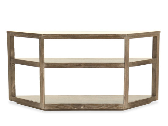 Trapezoid Casual Console Table in Medium Oak