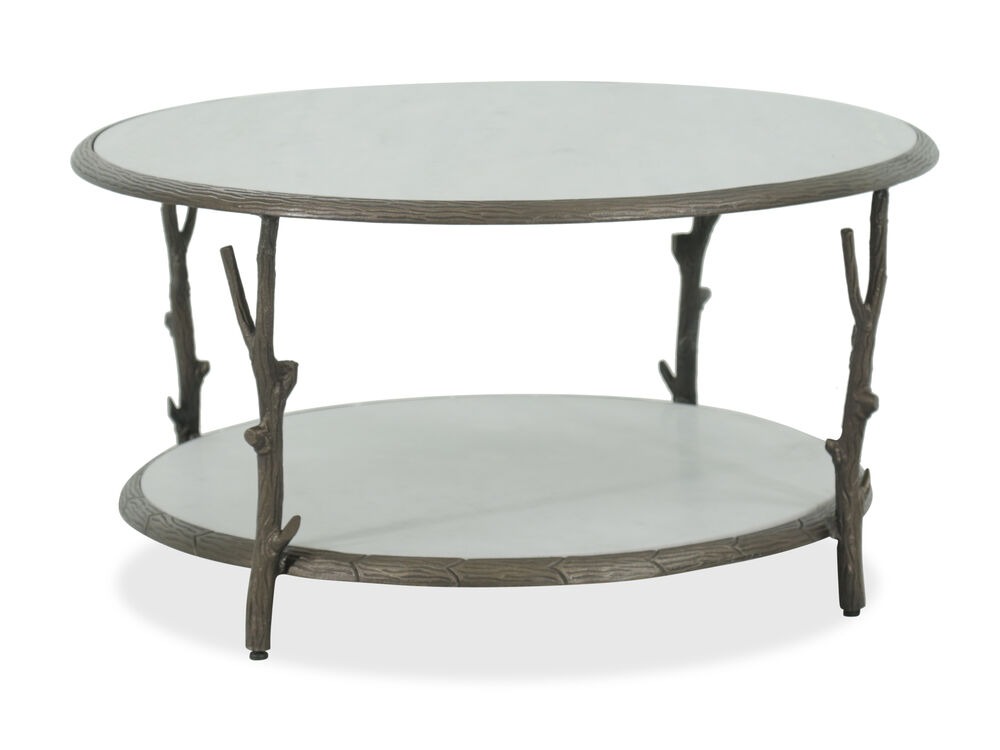Round Casual Marble Top Cocktail Table In Silver Mathis