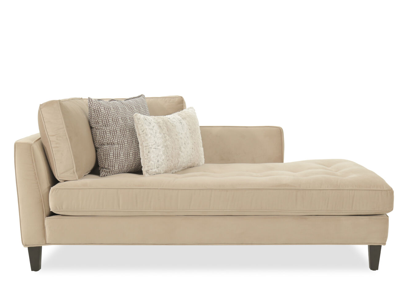 Button tufted contemporary left arm chaise in beige for Chaise contemporary