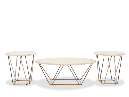 Three-Piece Contemporary Cocktail Table Set in Weathered White