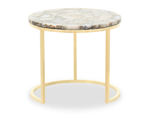 Modern Round Side Table in Gold