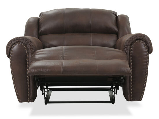 """Nailhead Accented 55"""" Snuggler Reclinerin Brown"""