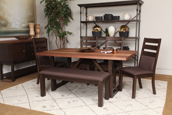 "Contemporary 66"" Slab-Top Dining Table in Dark Brown"