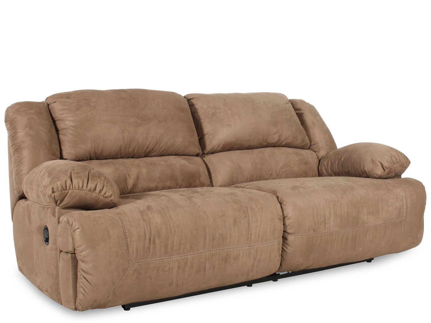 living room loveseat contemporary microfiber 96 quot reclining sofa in mocha 10103