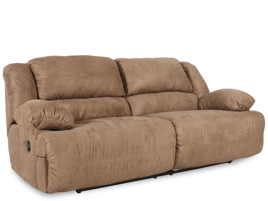 "Contemporary Microfiber 96"" Reclining Sofa in Mocha"