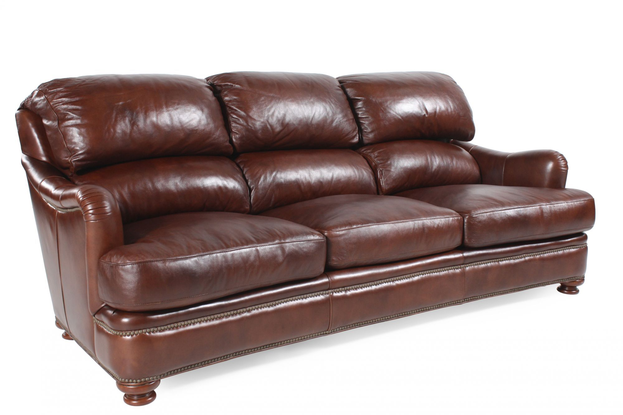 Nailhead Accented Leather Sofa In Saddle Brown