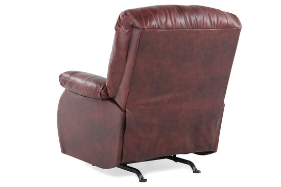 """Leather 37"""" Rocking Reclinerin Saddle Brown"""