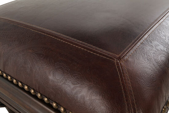 """Nailhead Accented 54"""" Leather Bed Bench in Brown"""
