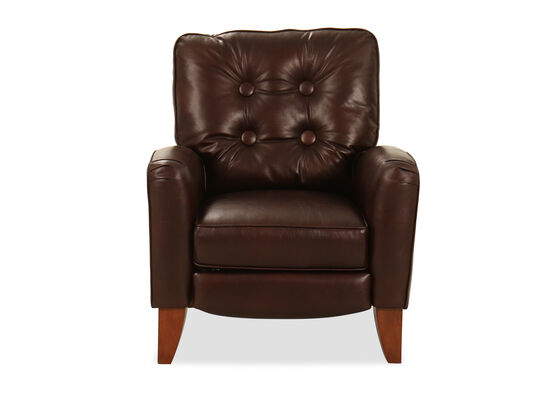 "Button-Tufted Leather 32"" High-Leg Recliner in Brown"