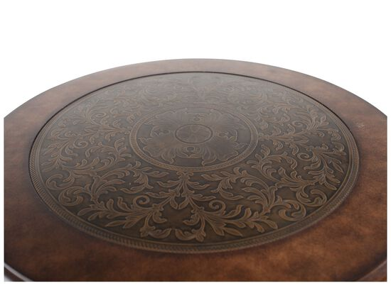 Round Scrolled Legs Traditional End Tablein Medium Brown