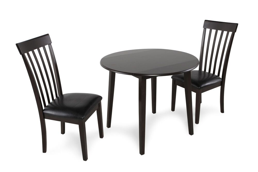 Three-Piece Contemporary Leather Round Dining Set in Dark Brown
