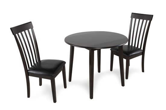 Three-Piece Contemporary Leather Round Dining Set in Dark Brown