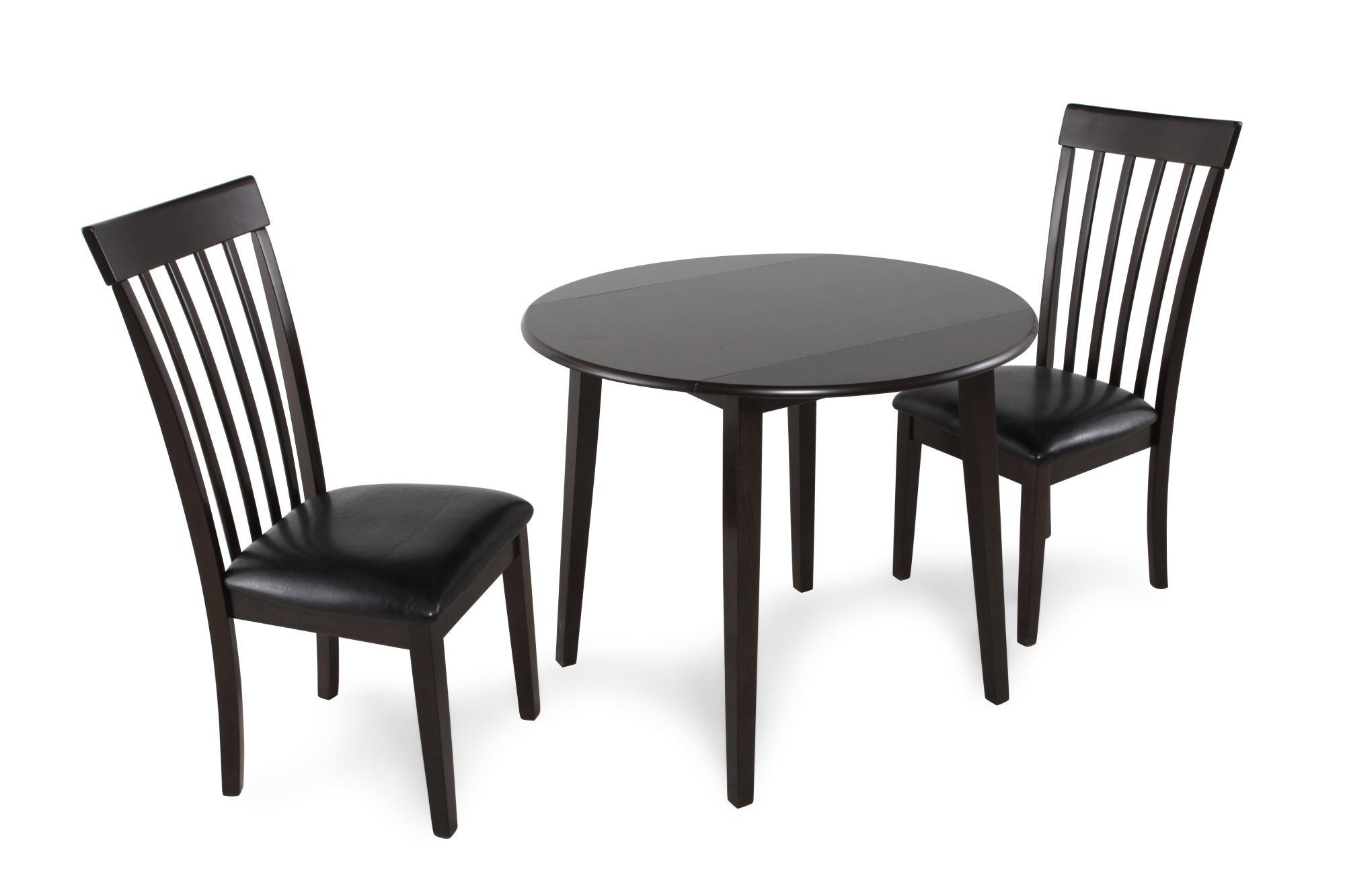 Three-Piece Contemporary Leather Round Dining Set in Dark Brown  sc 1 st  Mathis Brothers & Dining Room Sets u0026 Kitchen Furniture | Mathis Brothers