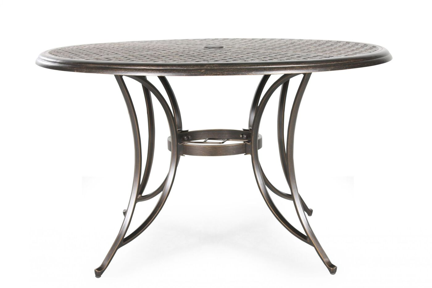 lattice patterned aluminum round patio dining table in dark brown mathis brothers furniture. Black Bedroom Furniture Sets. Home Design Ideas