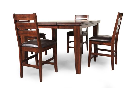 "Five-Piece Traditional 36"" Pub Set with Leaf Insert in Dark Brown"