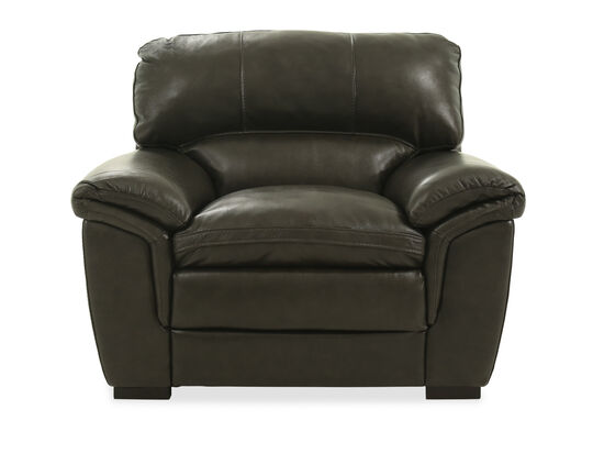 """Pillow-Top Arm Leather 47"""" Chair in Gray"""