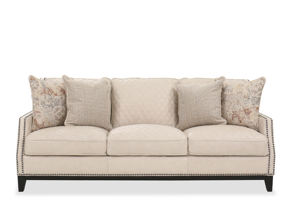 Nailhead Detail Leather Sofa in Cream   Mathis Brothers ...