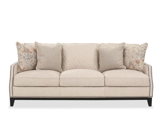 Nailhead Detail Leather Sofa in Cream
