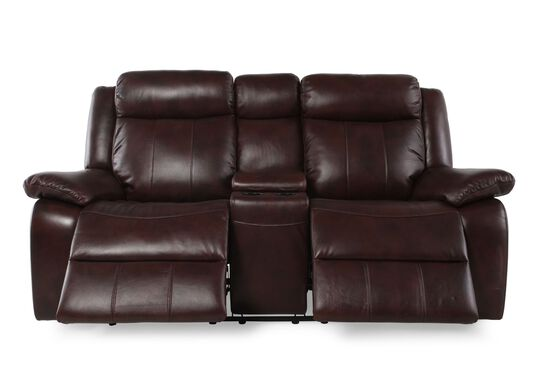 "Power Reclining Leather 78"" Loveseat with Console in Medium Brown"