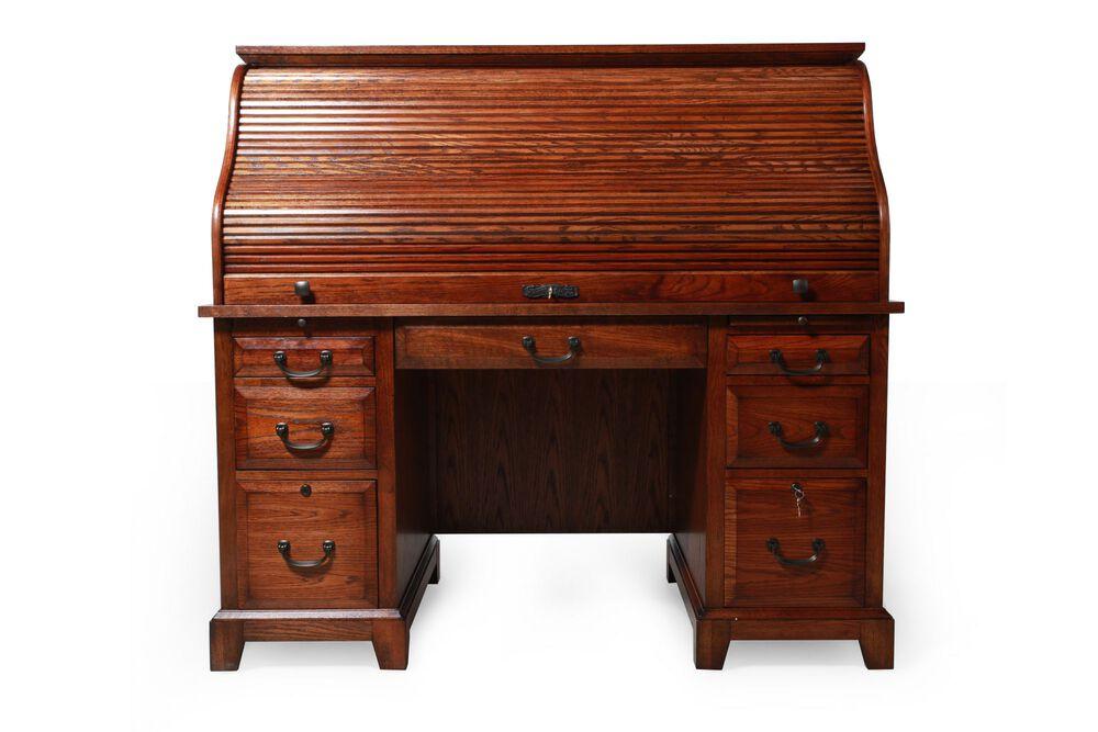 """57"""" Traditional Roll-Top Desk in Oak"""
