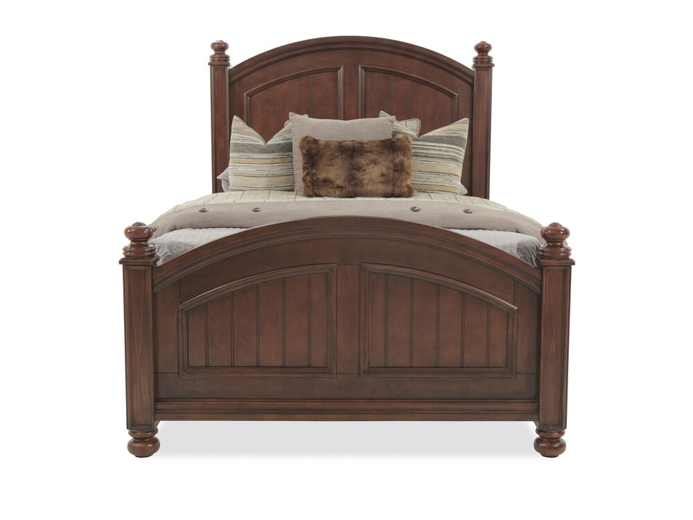 Casual Planked Arch Youth Panel Bed in Chocolate
