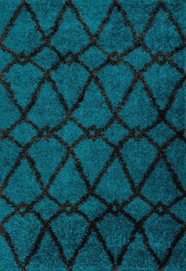 "Contemporary 3'-9""x5'-6"" Rug in Blue/Charcoal"