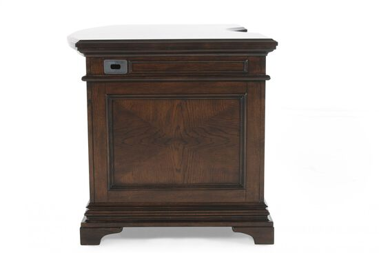 "66"" Traditional Curved Executive Desk in Molasses Brown"