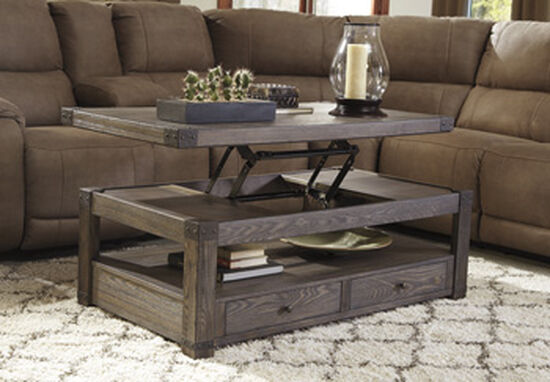 Lift-Top Rectangular Casual Cocktail Table in Grayish Brown