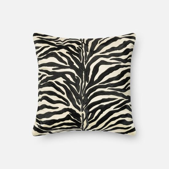 """Contemporary 18""""x18"""" Cover w/down pillow in Black"""