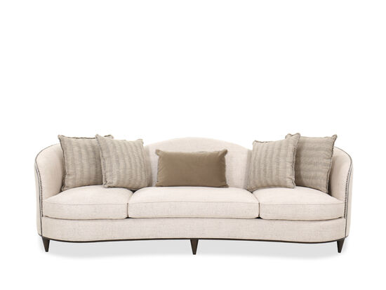 "Contemporary 104"" Nailhead-Accented Sofa in Cream"