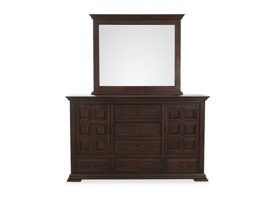 Two-Piece Traditional Six- Drawer Dresser and Mirror Set in Brown