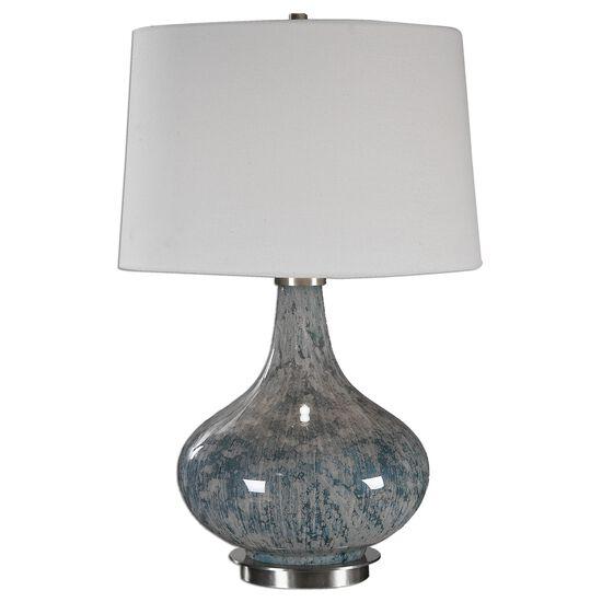 Gourd-Shaped Base Mottled Glass Lamp in Blue Gray