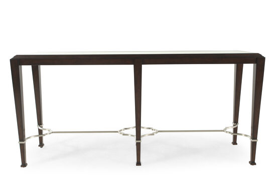 Stainless Steel Casual Console Table in Espresso