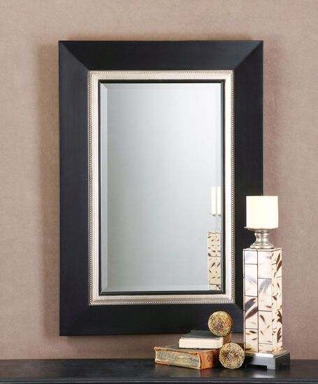 "40"" Beveled Vanity Mirror in Matte Black"