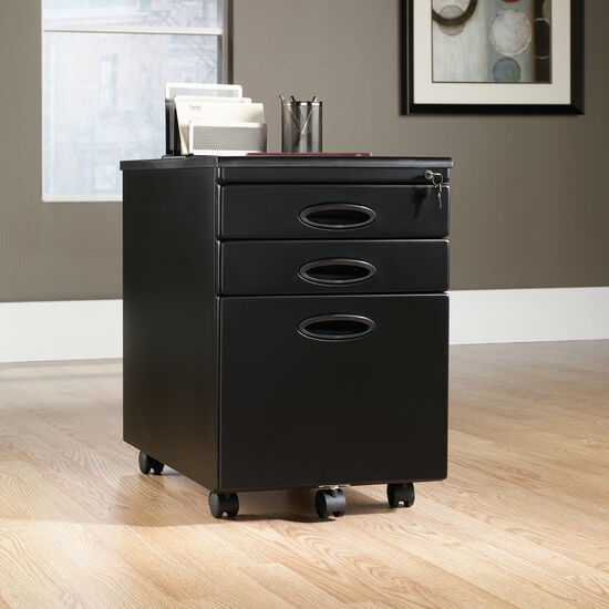 Molded Top Transitional File Cabinet in Black