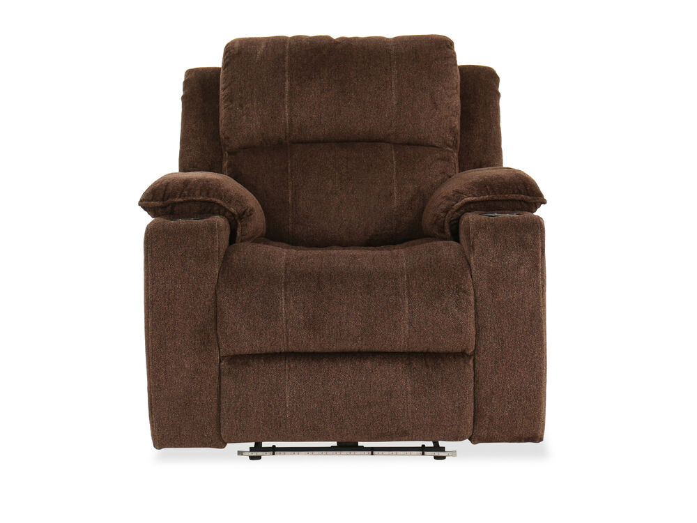Two Cup Holder Casual 38 5 Power Recliner In Chocolate
