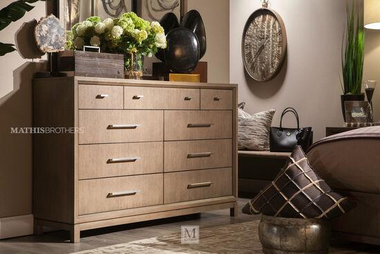"42"" Modern Nine-Drawer Dresser in Brown"