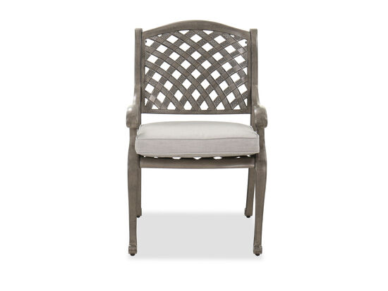 Lattice-Patterned Casual Patio Dining Chair in Gray