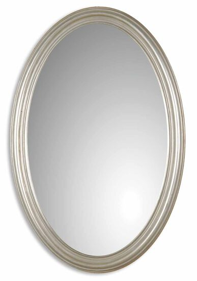 "31"" Oval Mirror in Antique Silver Leaf"