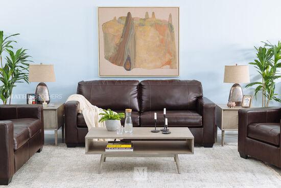 """Leather 85"""" Two-Seat Sofa in Espresso"""